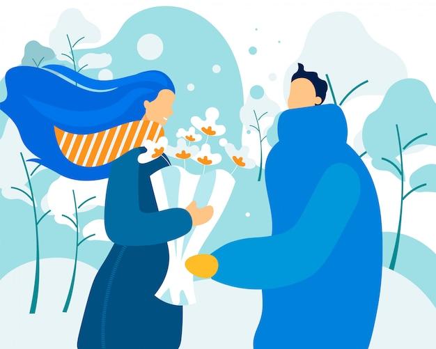 Winter bouquet for couple in love. Premium Vector