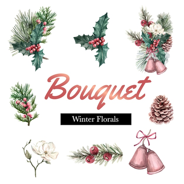 Winter bouquet for decor border frame decoration beautiful Free Vector