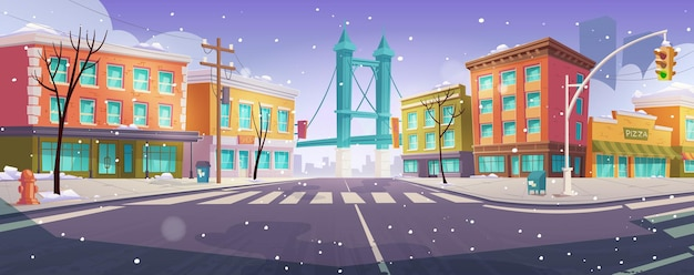 Winter brooklyn crossroad and bridge city view Free Vector