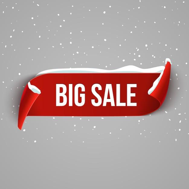 Зимний фон продажи ошибок с красной реалистичной лентой. зимний плакат или рекламный баннер со снегом. Premium векторы