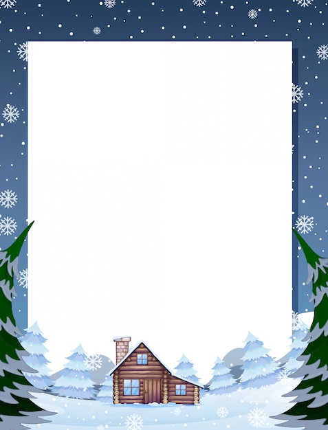Winter cabin note template Free Vector
