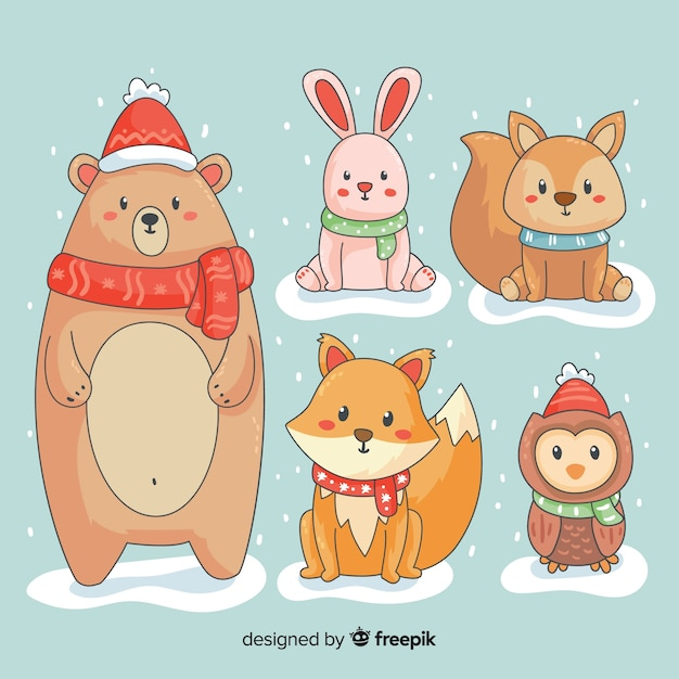 Winter cartoon animals collection Free Vector