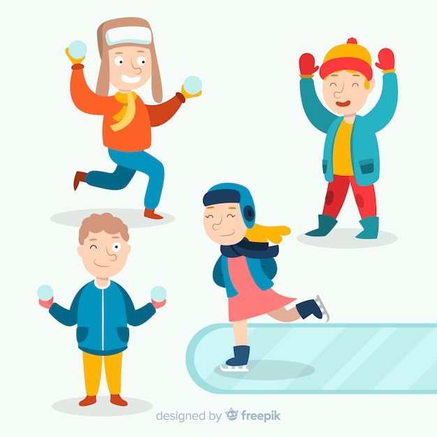 Winter children character collection Free Vector