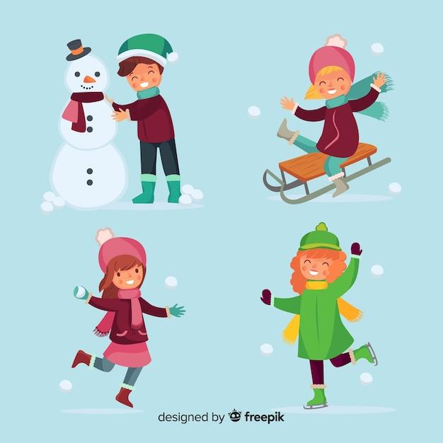 Winter children collection Free Vector