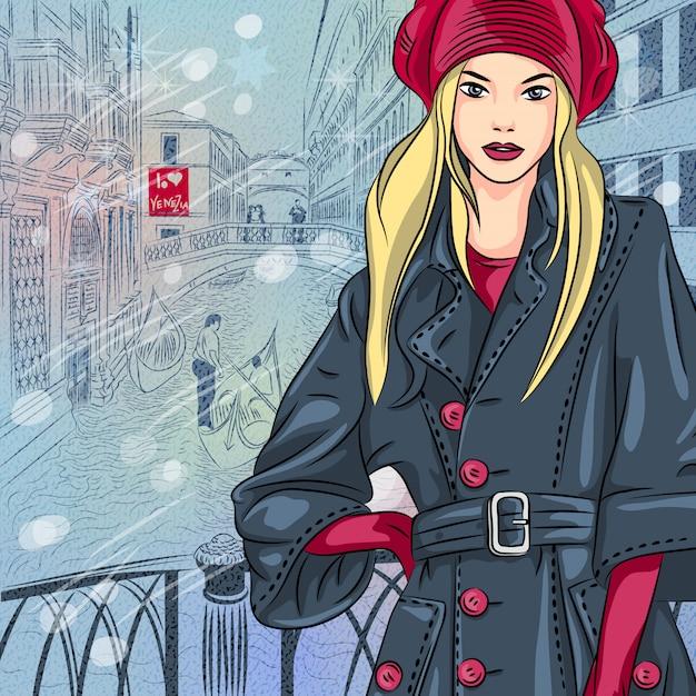ため息の橋の上のtblondeファッションの女の子と冬のクリスマスの街並み Premiumベクター