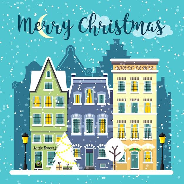 Зимний рождественский оформленный уличный пейзаж. снежный город городской состав. с рождеством христовым карты иллюстрации шаржа. Premium векторы