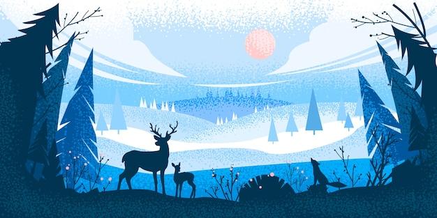トナカイのシルエット、松の木、丘、キツネ、空、雲と冬のクリスマスの森の風景 Premiumベクター