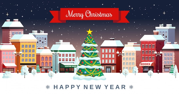 Winter christmas holidays city illustration Free Vector