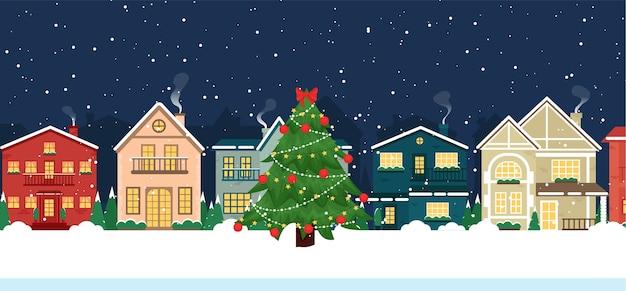 겨울 크리스마스 주택 Snowcovered 건물의 전면보기 프리미엄 벡터