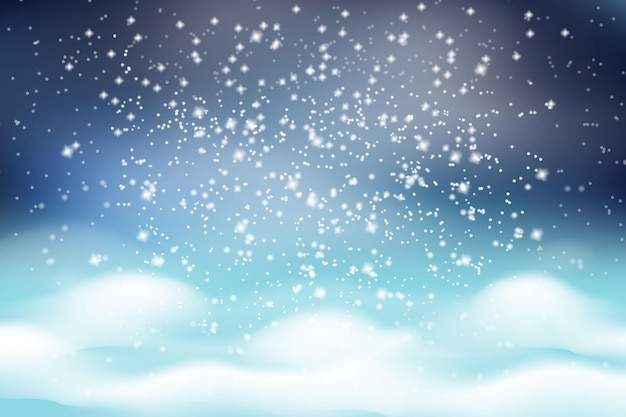 겨울 크리스마스 풍경. 하얀 솜털 Snowdrifts와 어두운 서리가 내린 하늘 배경에 떨어지는 하얀 눈. 프리미엄 벡터