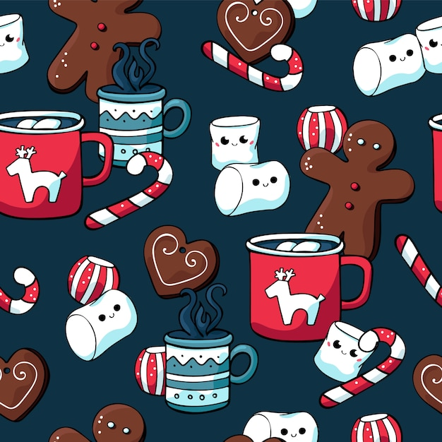 Winter christmas seamless patterns with sweets and hot drinks Premium Vector