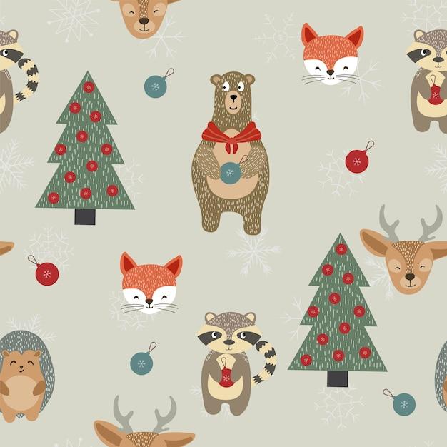 Зимнее рождество toytree и снежинка бесшовные модели. Premium векторы