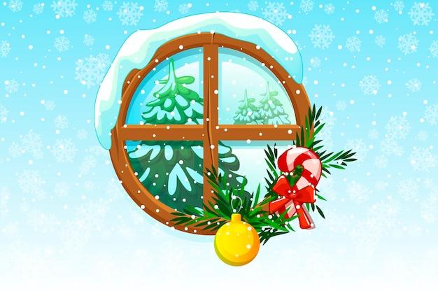 뒤에 보이는 크리스마스 트리 겨울 크리스마스 창. 프리미엄 벡터