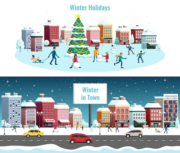 冬の都市景観の特徴図 無料ベクター