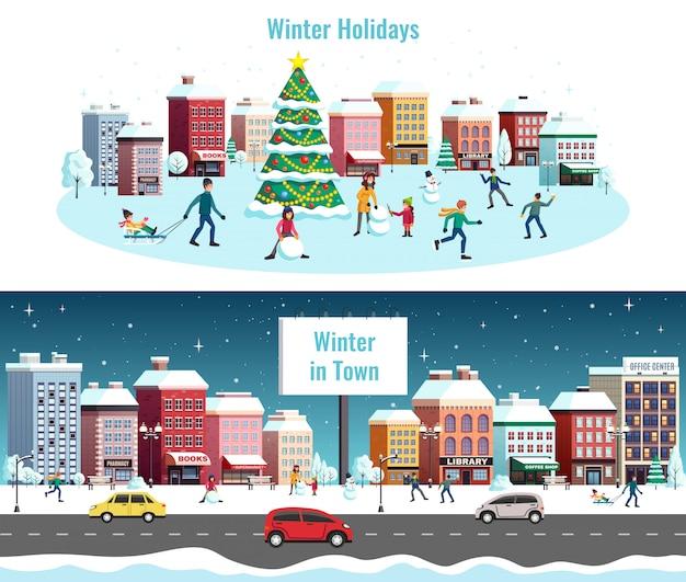 Winter city landscape illustration Free Vector
