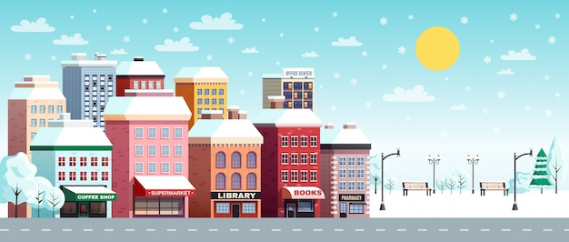 Зимний городской пейзаж иллюстрации Бесплатные векторы
