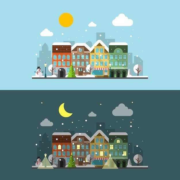 昼と夜の冬の街の風景。 無料ベクター