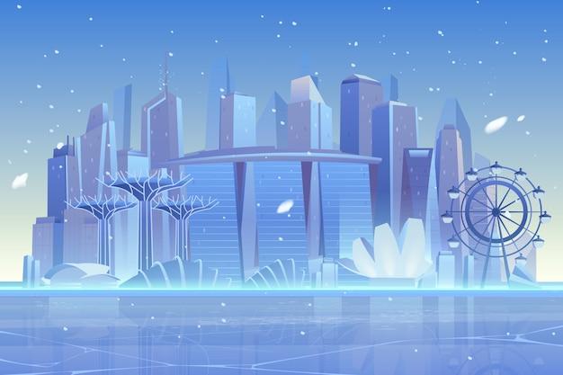 Orizzonte della città di inverno alla baia congelata, architettura Vettore gratuito