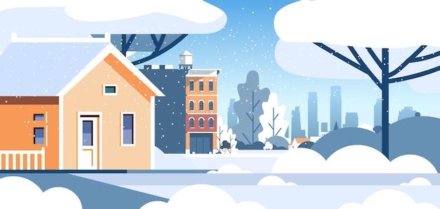 Зимний город снежный жилой дом район городской плоский горизонтальный векторные иллюстрации Premium векторы