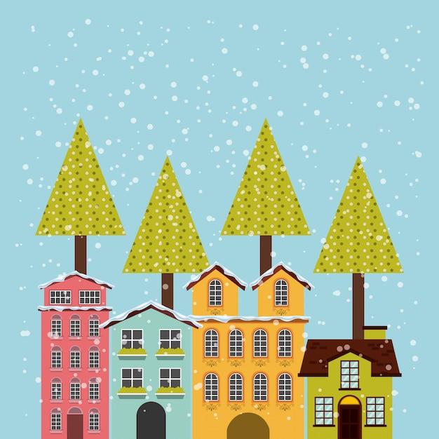 Winter cityscape background icon Premium Vector