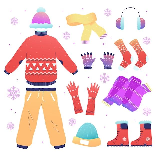 冬の服やアクセサリーの手描き 無料ベクター