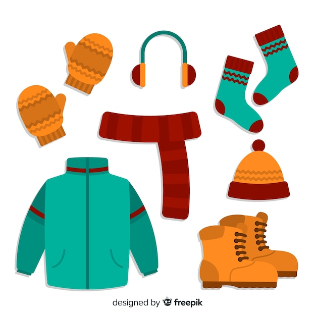 Winter clothes background Free Vector