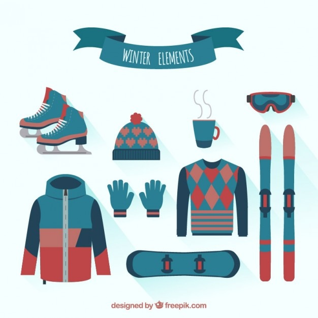 Winter Clothes Collection Vector Free Download