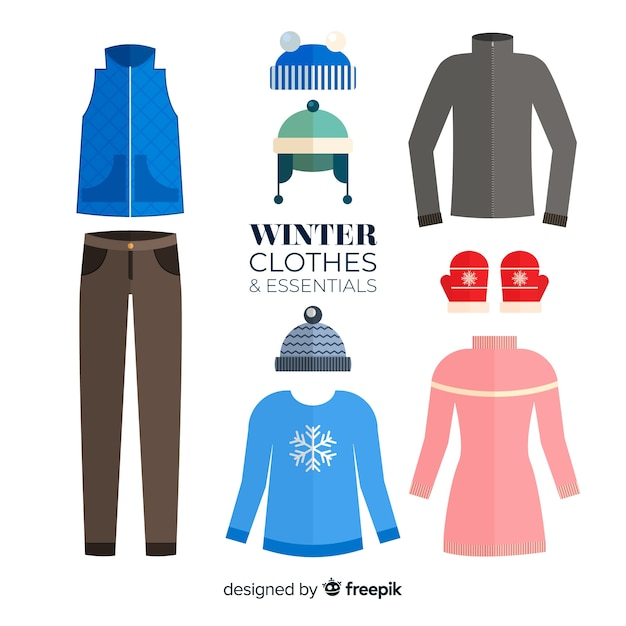 Winter clothes and essentials collection Premium Vector