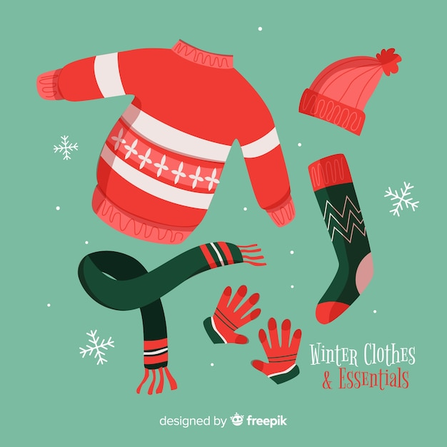 Winter clothes and essentials collection Free Vector