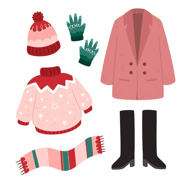 Winter clothes and essentials in flat design Free Vector