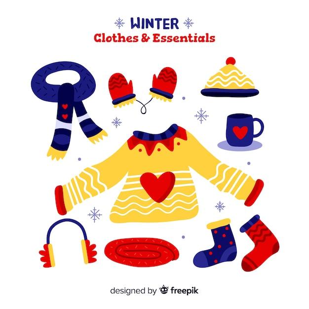 Abbigliamento invernale ed essenziale Vettore gratuito