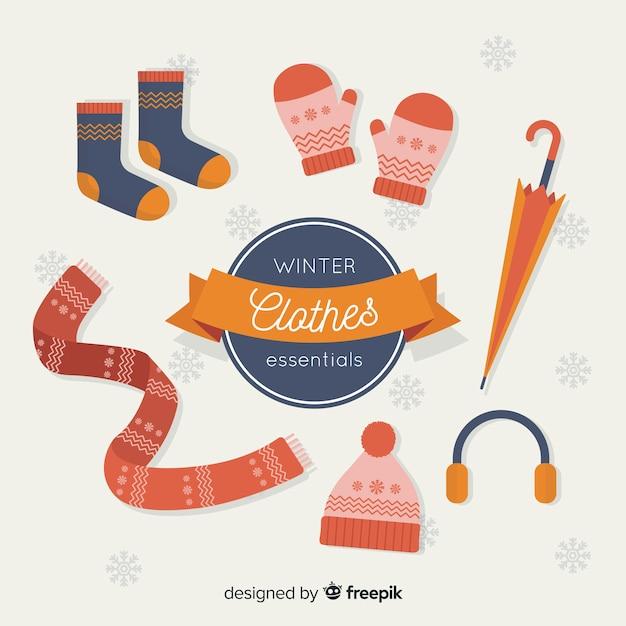 Winter clothes essentials Free Vector