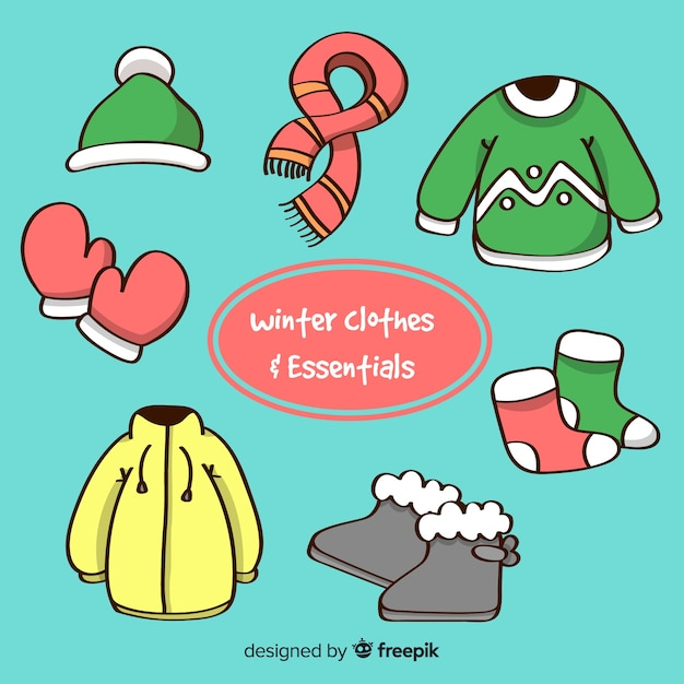 Winter Clothes And Essentials Vector Free Download