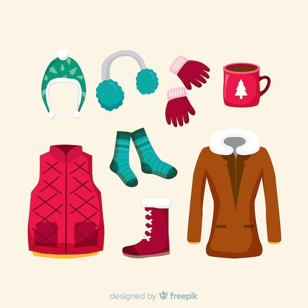Winter clothes & essentials Free Vector