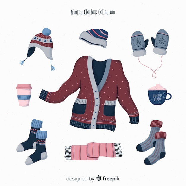 Winter clothes and essentials Free Vector