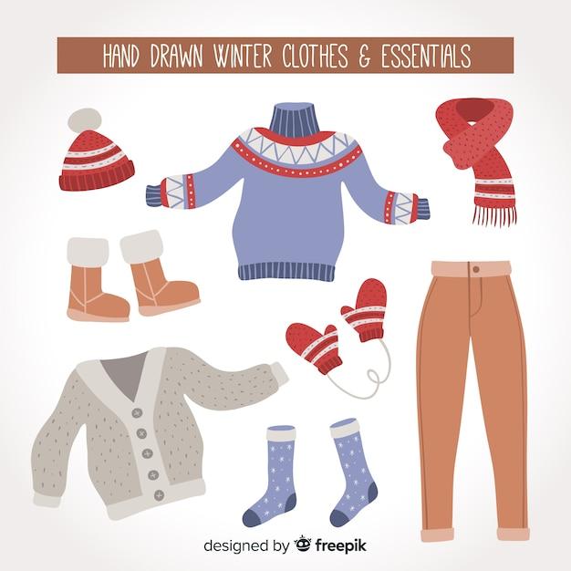 Vestiti invernali ed elementi essenziali Vettore gratuito