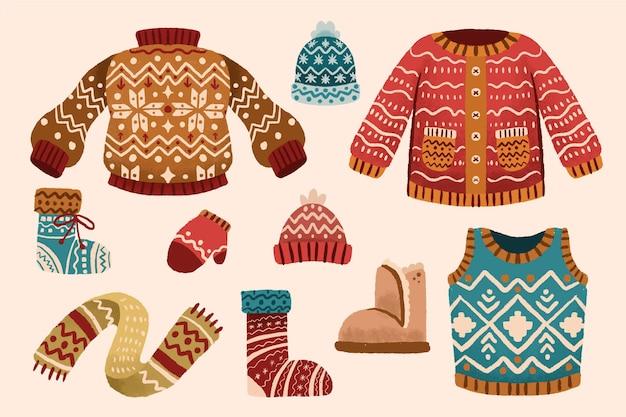 Abbigliamento invernale ed elementi essenziali Vettore gratuito