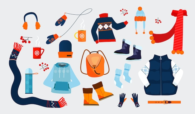 Winter clothes icons Free Vector