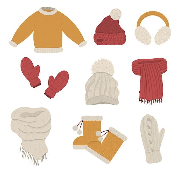 冬服セット。寒い季節の衣料品のコレクション。ニットの暖かいセーター、帽子、手袋、スカーフ、ブーツのフラットなイラスト。 Premiumベクター