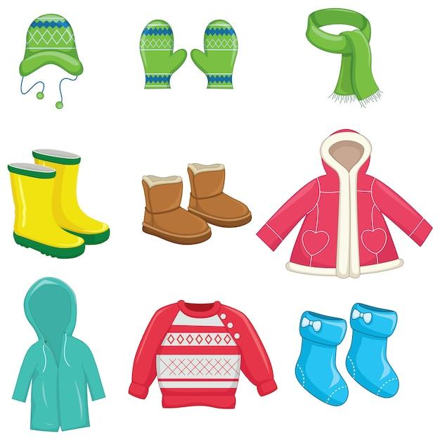 Winter clothes Premium Vector