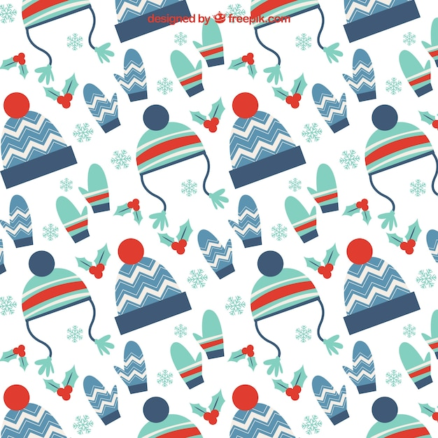 Winter clothing accessories pattern Premium Vector