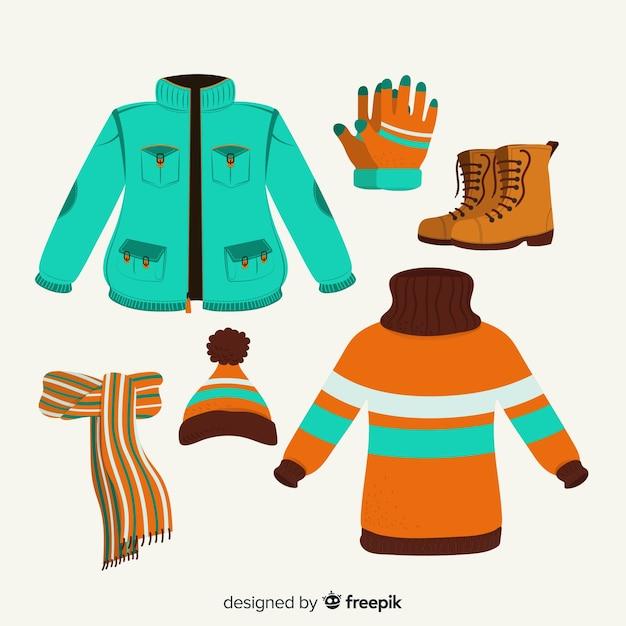 Winter clothing set Free Vector