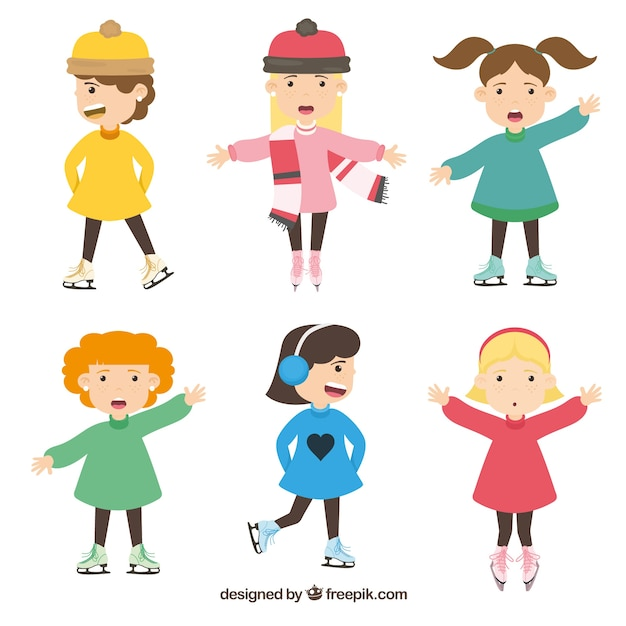 winter collection of six girls with ice skates vector free download rh freepik com
