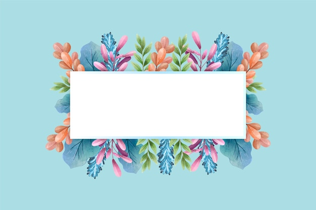 Winter colourful flowers with empty banner Free Vector