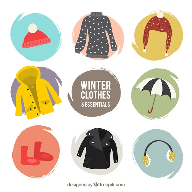 Winter comfortable clothing pack with accessories Free Vector