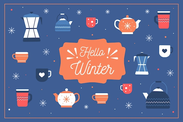 Winter concept in flat design Free Vector