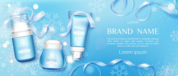 Winter cosmetic tubes and cream jar  line Free Vector