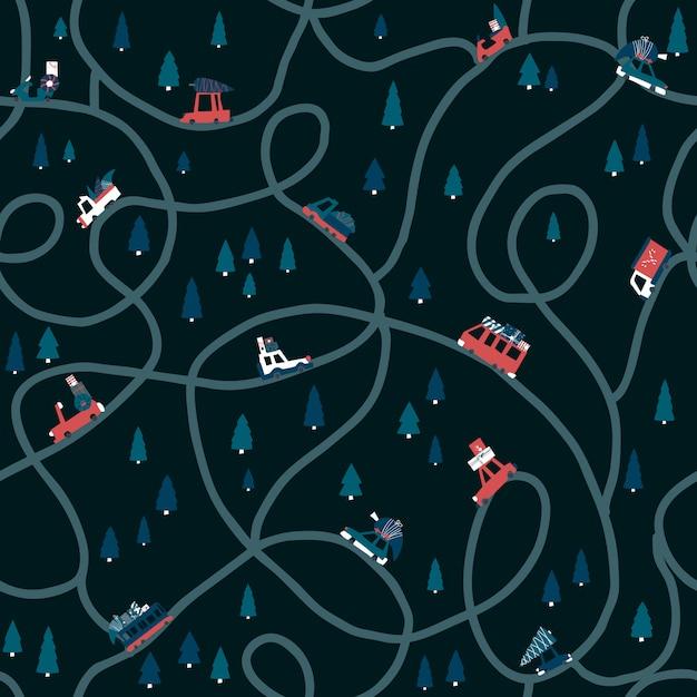 Зимний темный узор рождество с дорогой и милыми авто. плоский детски рисованной иллюстрации в простом мультяшном стиле Premium векторы