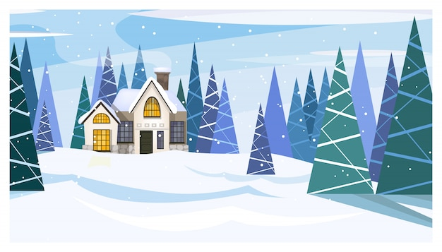 Winter day landscape with cottage and fir-trees Free Vector