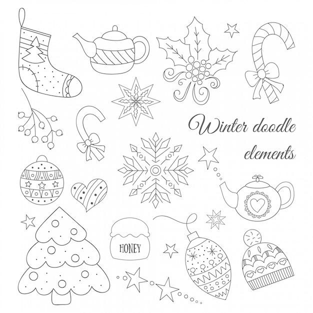 冬落書き要素セットツリー、ティーポット、おもちゃ、キャンディー、帽子、靴下 Premiumベクター